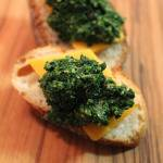 Food for the Grown-Up Prom: Bruschetta of Collard Green and Pecan Pesto and Cheddar