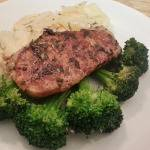 Scalloped Potatoes, Seared Pork, and Steamed Broccoli