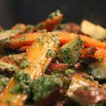 Roasted Carrots and Potatoes with Carrot Top Pesto