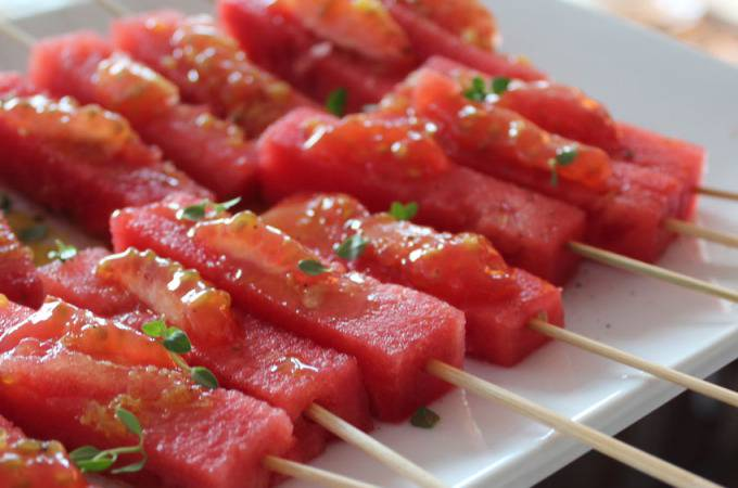 Watermelon-Tomato Skewers