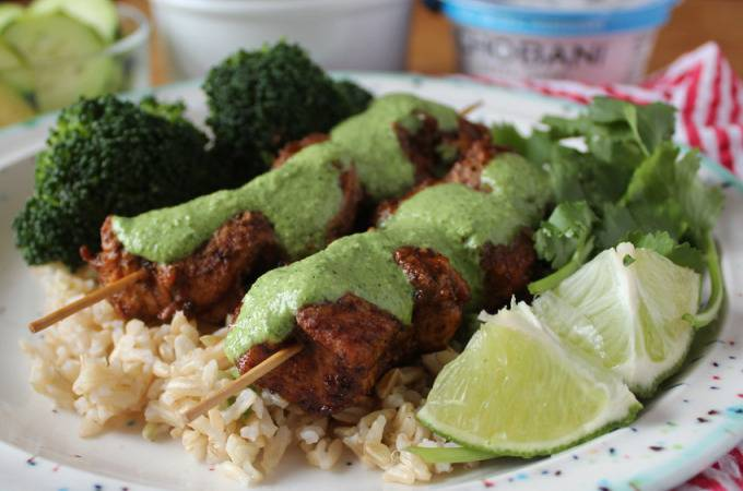 Healthier Peruvian Chicken Skewers with Green Sauce | Runaway Apricot
