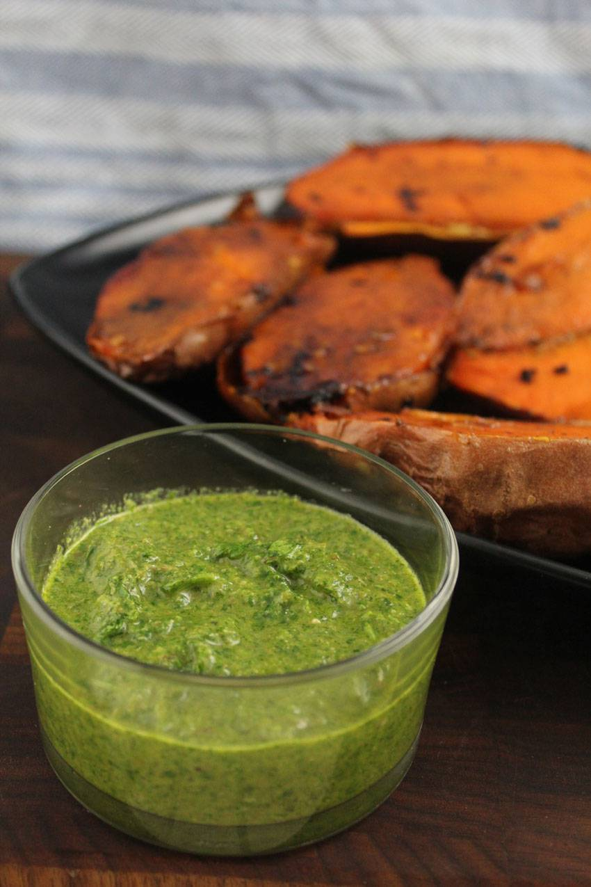 #2Ways2Percent - Roasted Sweet Potatoes with Watercress Salsa Verde | Runaway Apricot