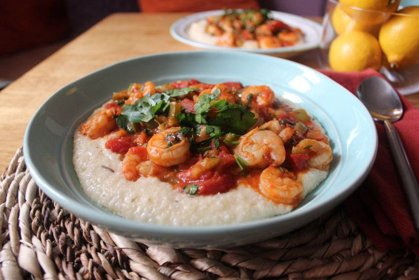 Shrimp Creole and Cheddar Grits | Runaway Apricot