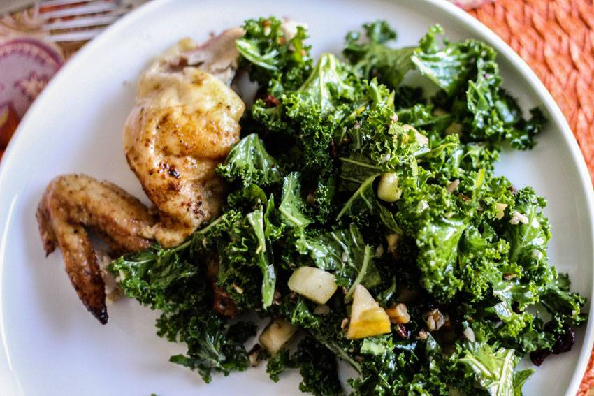... Roast Chicken & Kale Salad with Apples, Dried Cherries and Pecans