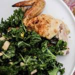 Simple Entertaining: Lemon-Coriander Roast Chicken & Kale Salad with Apples, Dried Cherries and Pecans // Runaway Apricot