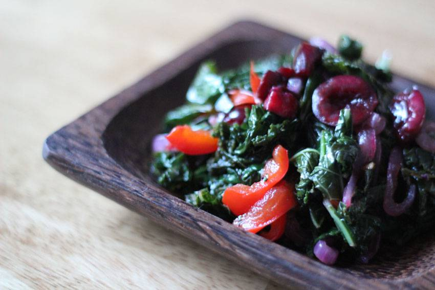 Sauteed Kale with Cherries // Runaway Apricot
