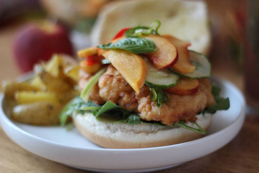 Spicy Fried Chicken Sandwich with Pickled Peaches | Runaway Apricot