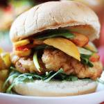 Spicy Fried Chicken Sandwich with Pickled Peaches
