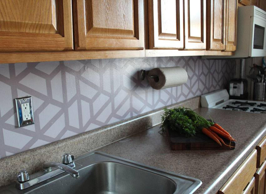 How to Paint a Geometric Tile Backsplash | Runaway Apricot