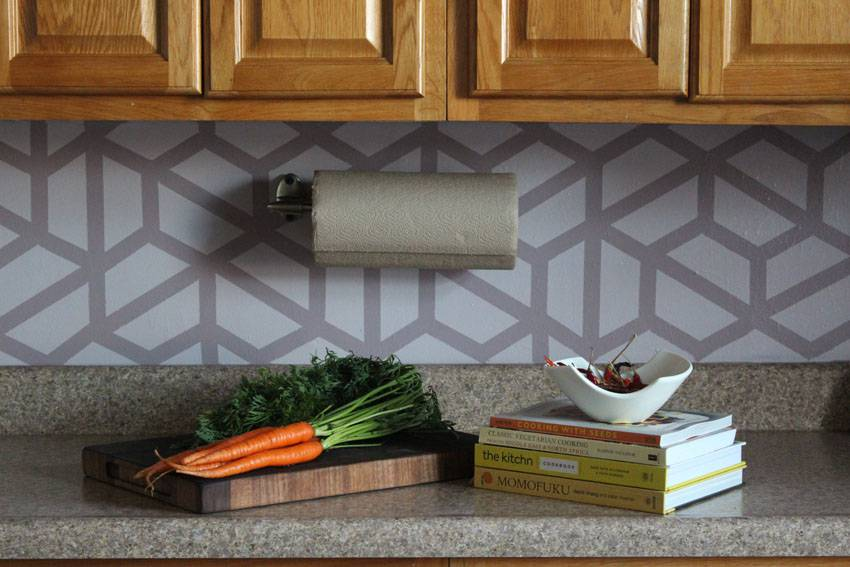 Easy DIY Geometric Tile Painted Kitchen Backsplash | Runaway Apricot