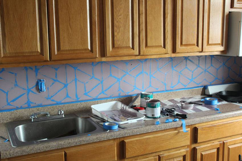 Paint Backsplash Interior Simple How To Paint A Geometric Tile Kitchen Backsplash Design Inspiration