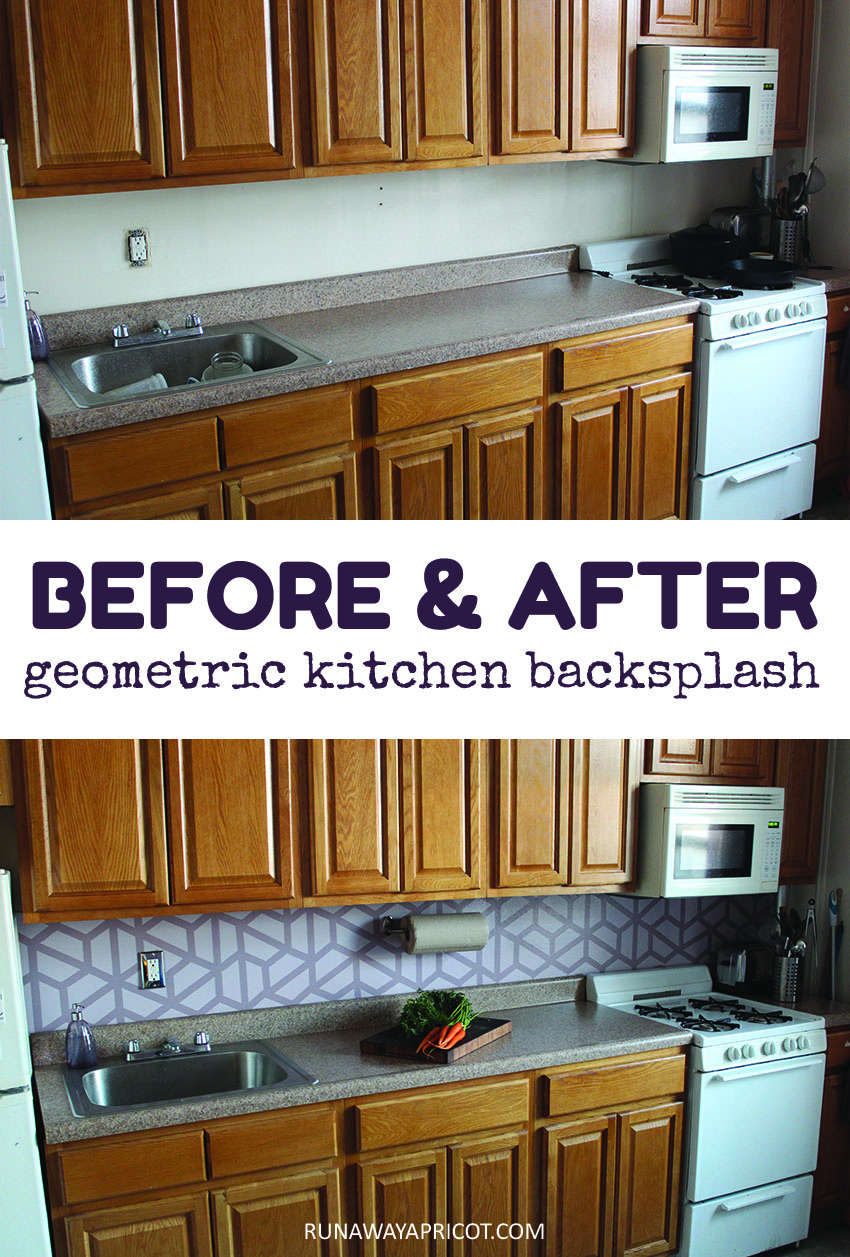 Before and After: Easy DIY Geometric Tile Painted Kitchen Backsplash | Runaway Apricot