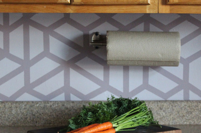 Easy DIY Geometric Tile Painted Kitchen Backsplash How-To | Runaway Apricot