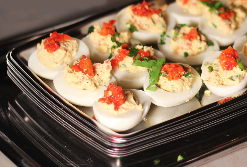 Soul Food Picnic - Roasted Red Pepper Deviled Eggs