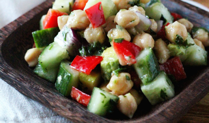 Chickpea Chopped Salad with Apple and Avocado