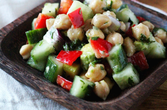 Chopped Chickpea Salad with Avocado and Apple