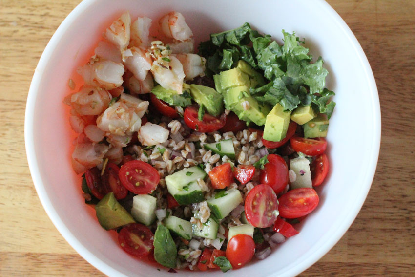 Shrimp-Avocado-Farro-Kale Salad for the ultimate summer meal prep and planning