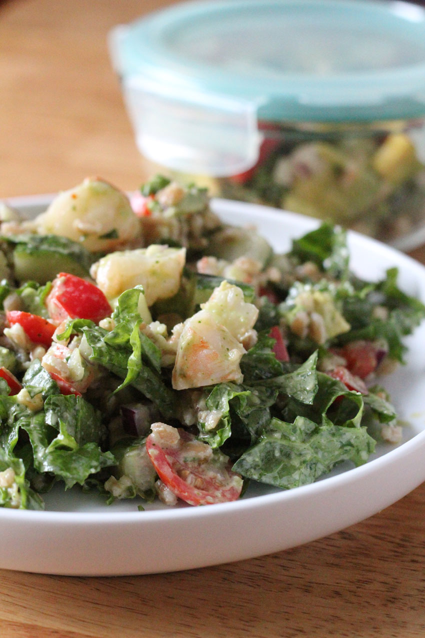 Shrimp-Avocado-Farro-Kale Salad for the ultimate healthy meal prep and planning