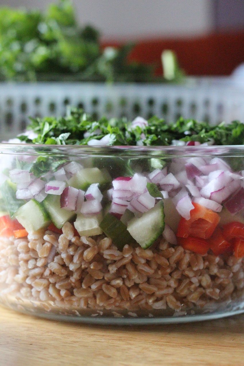 Farro Salad with Cucumber and Red Pepper - Super Healthy Summer Meal Prep